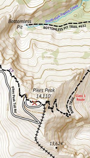 Crop of 14ers Series Map 2 of 16 - Pikes Peak