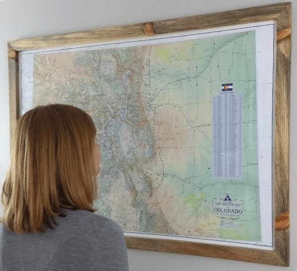 Model with Hiker's Map of Colorado