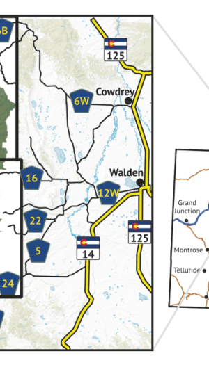 Location overview for Mount Zirkel Wilderness Hiking Map