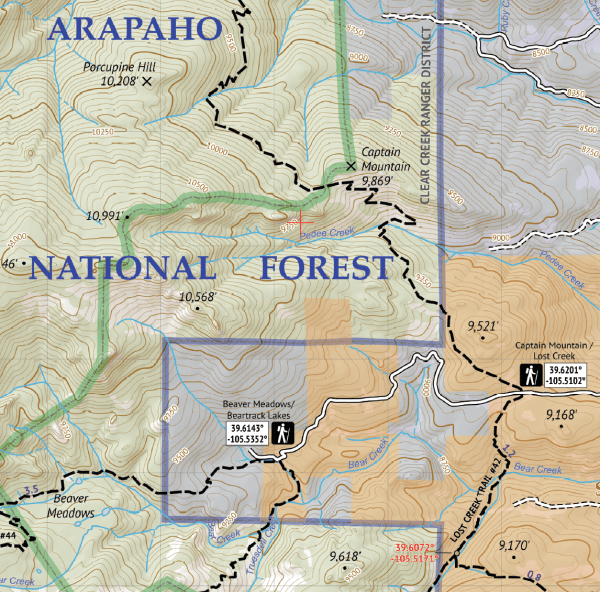 Mount Evans Wilderness Hiking Map Crop 3