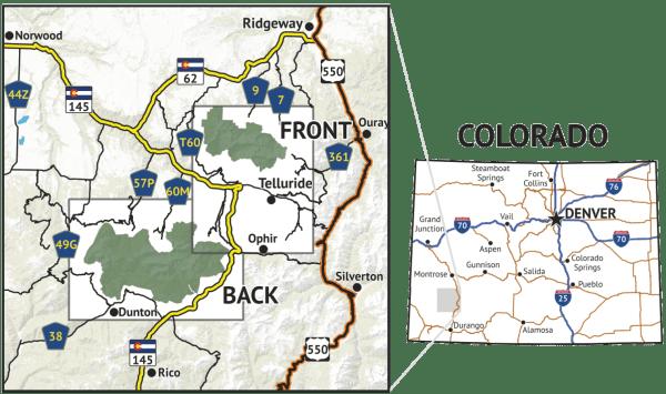 Location overview of Lizard Head Wilderness / Mount Sneffels Wilderness