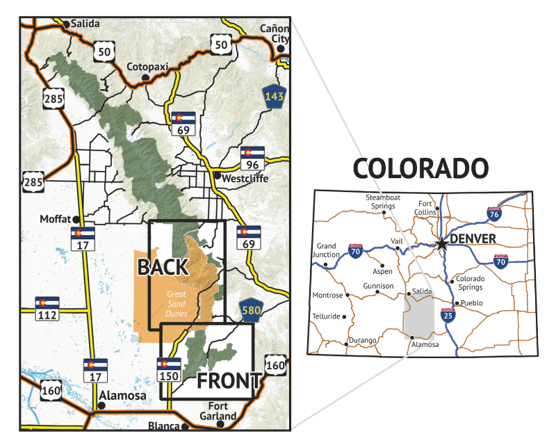 Location overview of Sangre de Cristo Wilderness SOUTH Hiking Map