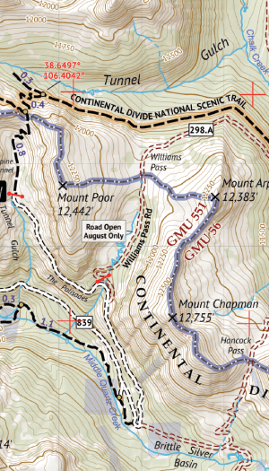 Sawtch Range South Hiking Map Crop 2