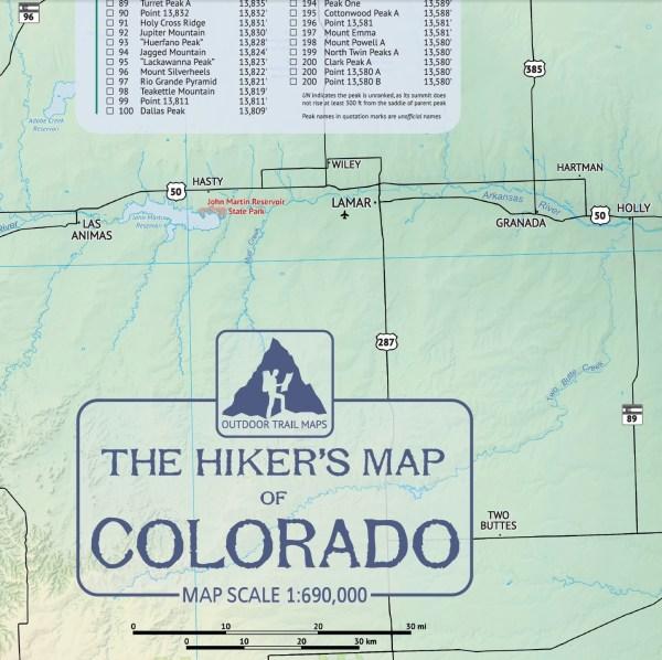 Crop of Hiker's Map of Colorado 1