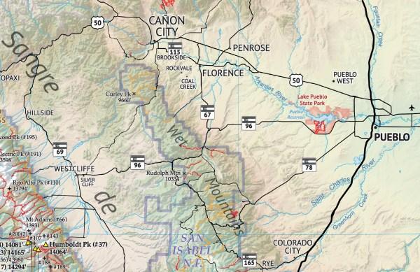 Crop of Hiker's Map of Colorado 3
