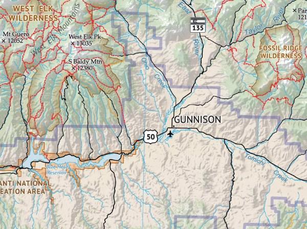 Crop of Hiker's Map of Colorado 4