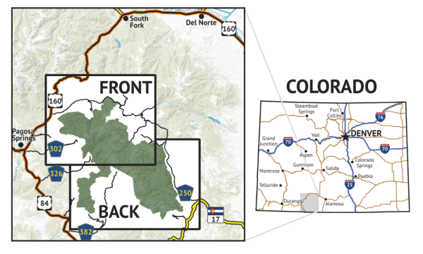Location overview for South San Juan Wilderness Hiking Map