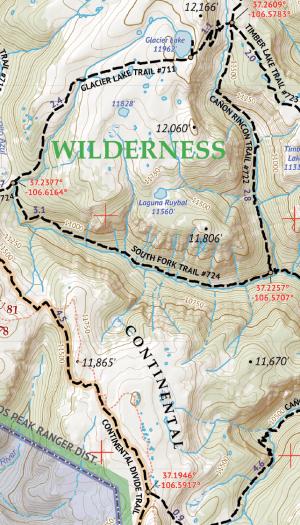 South San Juan Wilderness Hiking Map Crop 1