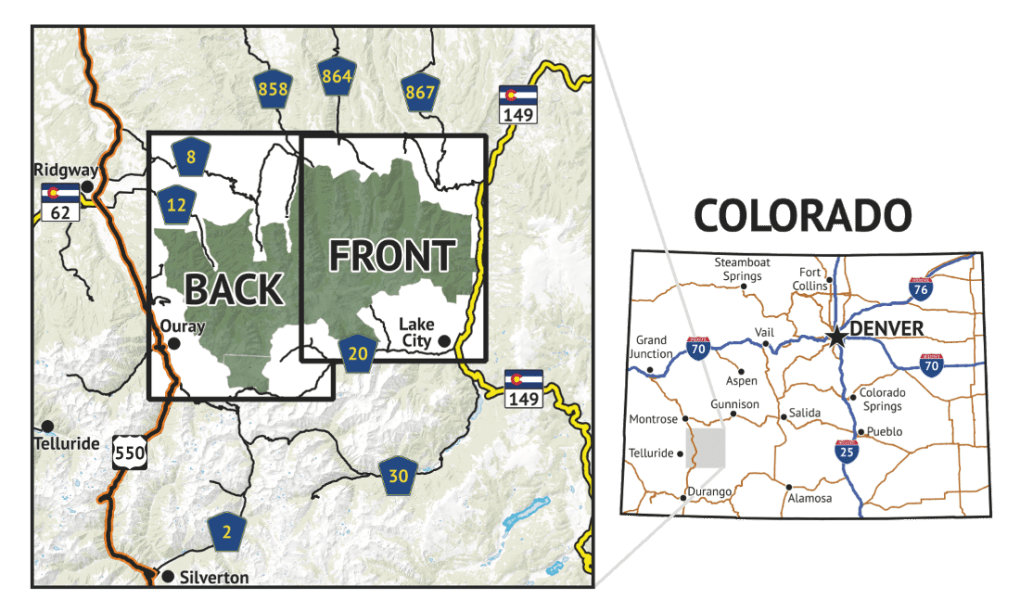 Location overview of Uncompahgre Wilderness Hiking Map