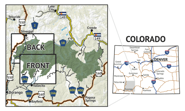Location overview for Weminuche Wilderness West Map