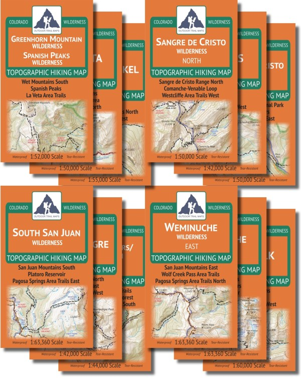 Map covers of the Colorado Wilderness Series Volume 2