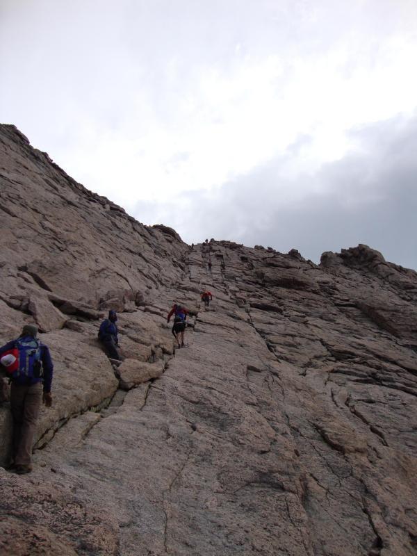 Climbing up Longs Peak