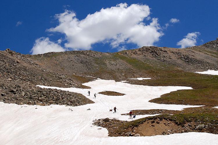 Hikers near La Plata Peak summit