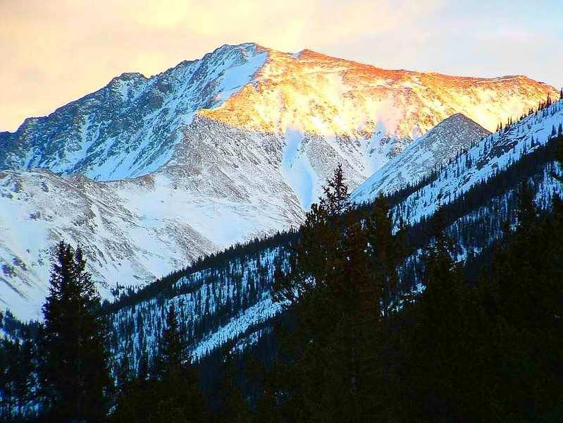 La Plata Peak Colorado Dusk in Winter from Independence Pass