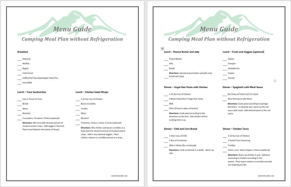graphic relating to Camping Food List Printable named No Refrigeration Tenting Food items Printable - Outside Travella