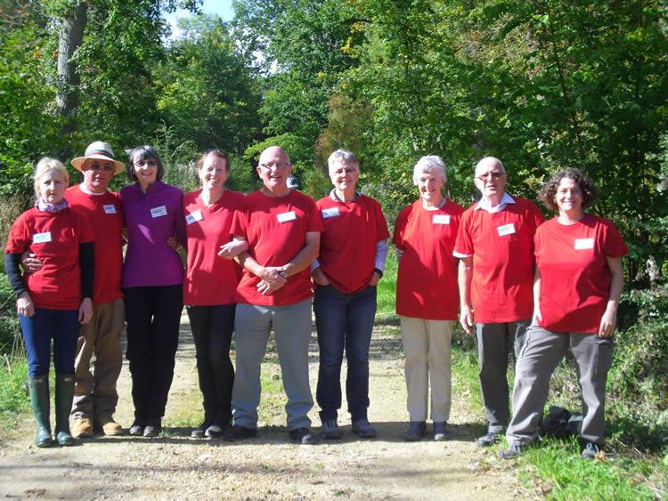 line of people on woodland track