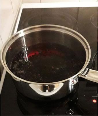 elderberries in water in pan