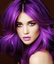 cute purple hairstyle girls