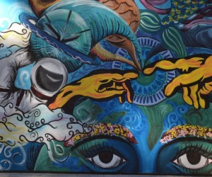 The wealth of knowledge on the internet (photo by Marissa Fessenden, mural on UCSC campus)