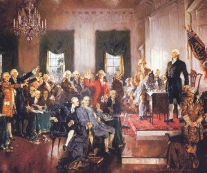 """Scene at the signing of the Constitution,"" Howard Chandler Christy, 1940  Source: http://www.teachingamericanhistory.org"