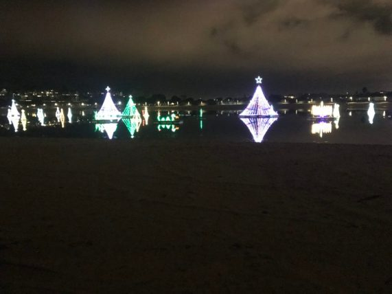 View during Christmas at Newport Dunes RV Park in California. Beautiful!