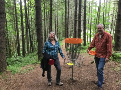 Our first disc golf game ever, at LL Stubb Stuart State Park, Oregon