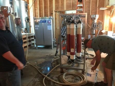 Filtering Wine at Styring Vineyards
