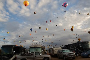 The balloons fly over the RV park. Our RV is facing the field so our visibility is great.