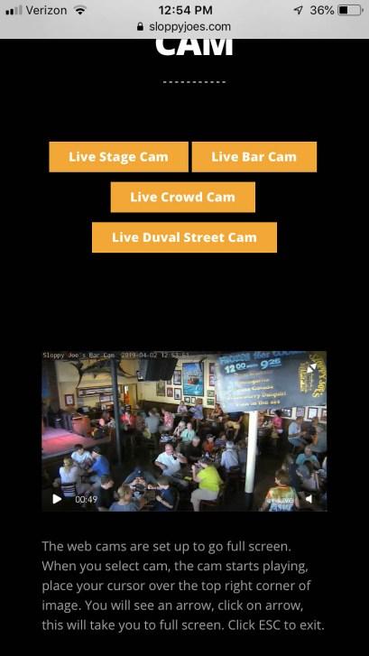 Sloppy Joes bar cam shows us enjoying live music