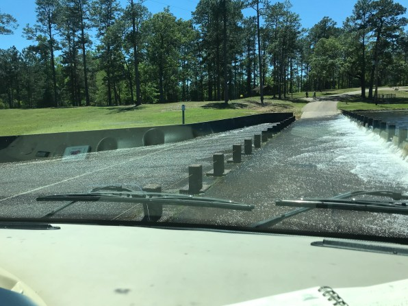The spillway entering the park requires driving through pretty deep water today after the storms