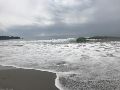 Sunlit waves at Rialto Beach