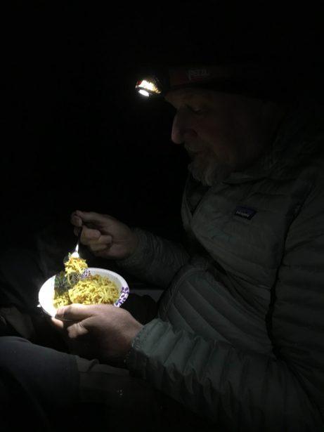 Bruce enjoys Pad Thai hiking dinner