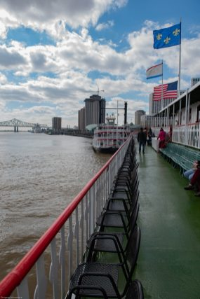 Flags flying aboard the Steamboat Natchez, New Orleans