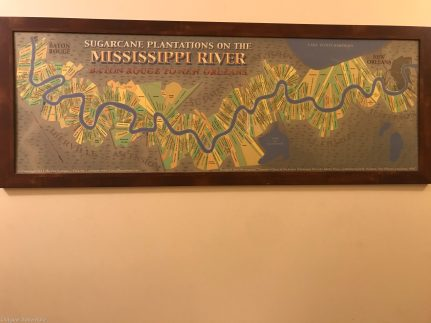 Mississippi River Plantation Map at Whitney Plantation, near New Orleans