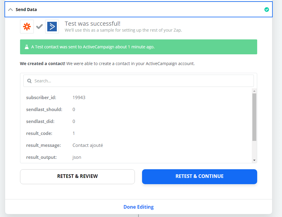 Zapier - Active Campaign - Test du ZAP