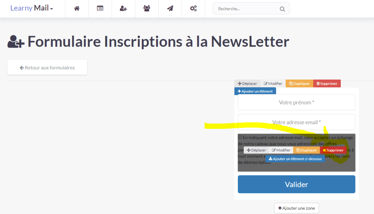 LearnyMail - Supprimer la validation