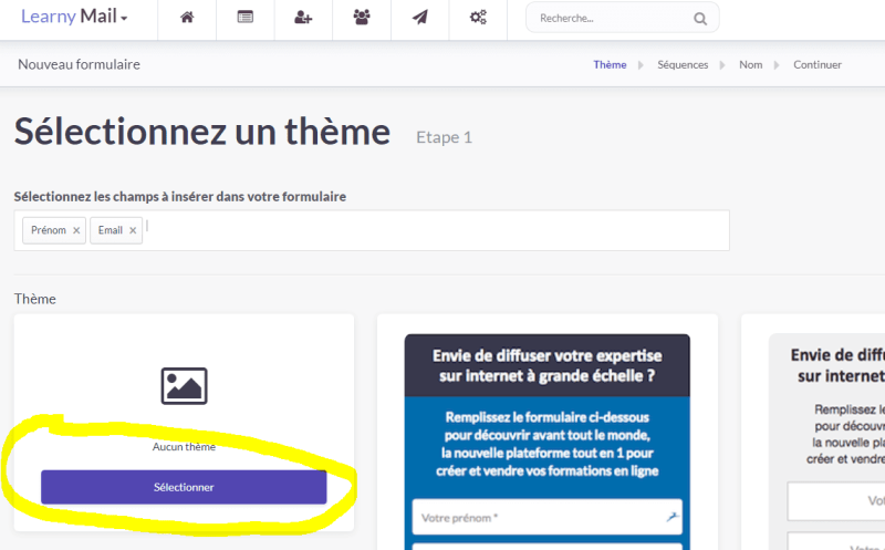 Learnybox - Selection du theme du formulaire