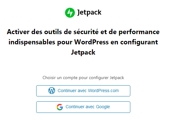 Jetpack : Continuer avec