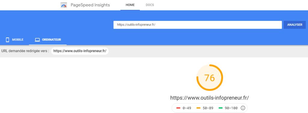 Vitesse du site sur Ordinateur avant installation Jetpack