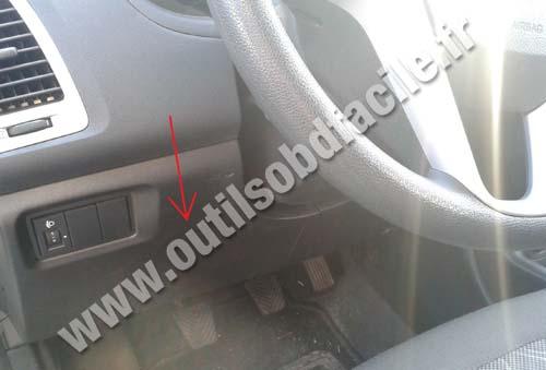 1996 I30 Fuse Box Diagram Obd2 Connector Location In Hyundai I20 2008 2014