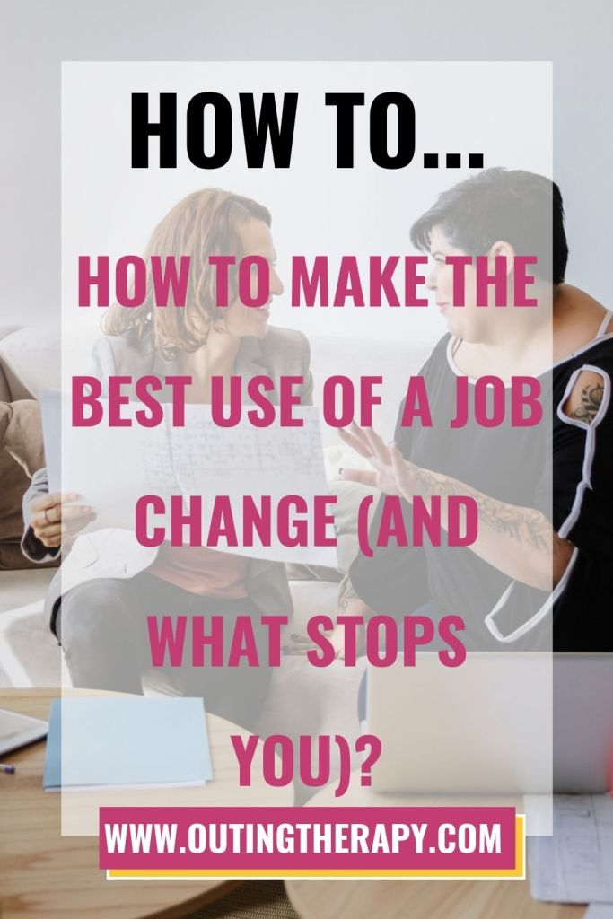 Two women working and chatting about how to make the best use of a job change