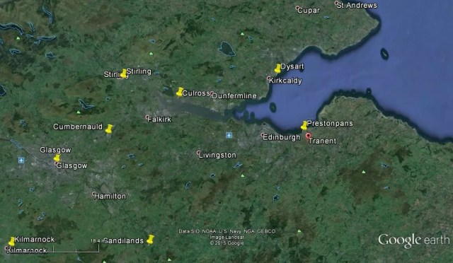 Google Earth map of Scotland showing Prestonpans and Tranent