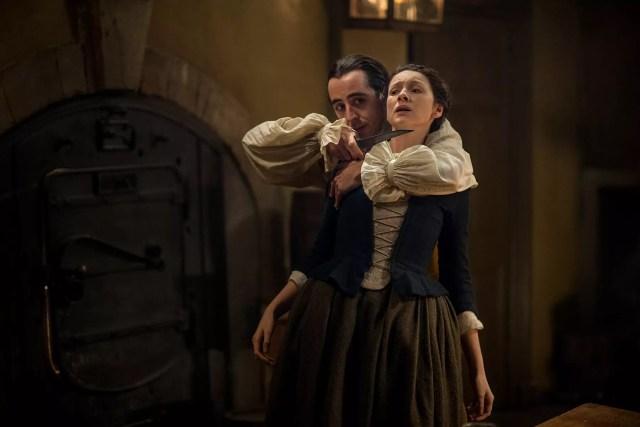 Andrea Dolente (Danton) and Caitriona Balfe (Claire Randall Fraser)