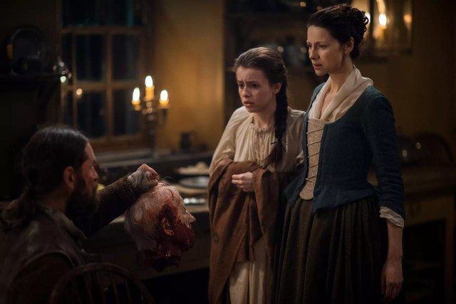Duncan Lacroix (Murtagh Fitzgibbons) Rosie Day (Mary Hawkins) and Caitriona Balfe (Claire Randall Fraser)