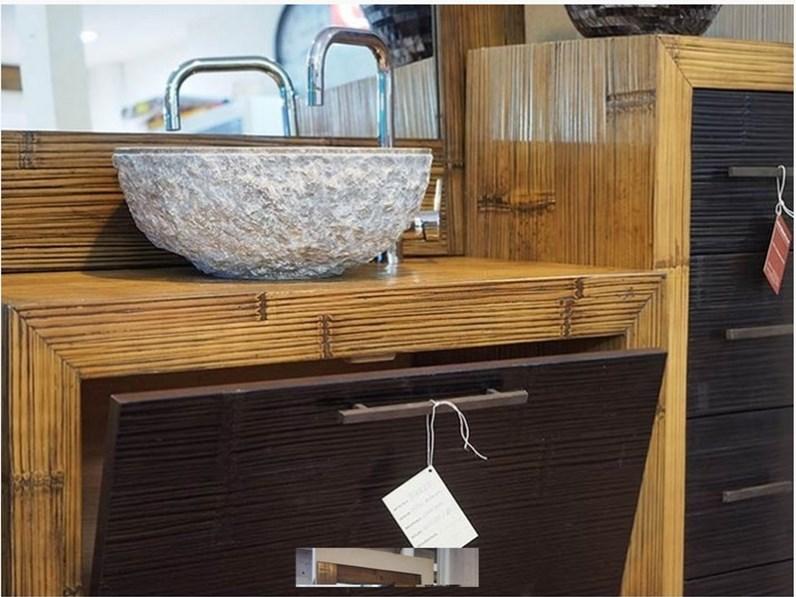 mobile bagno in legno e carsh bambu miele e black in