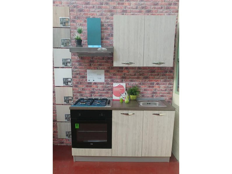 Cucina 150 cm colore rovere moderna lineare Jenny  Offerta Outlet