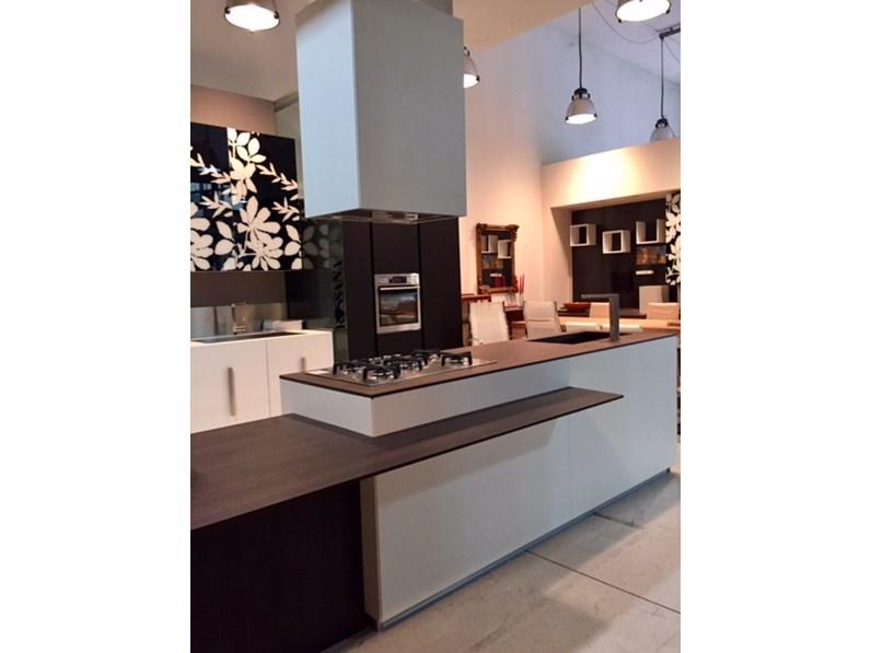 Cucina Composit Mood isola  tavolo integrato Design Laminato Materico Bianca