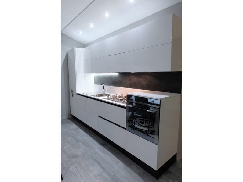 Cucina Composizione laccata bianca moderna bianca lineare