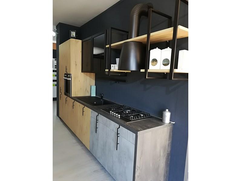 Cucina industriale rovere chiaro Aran cucine lineare Lab