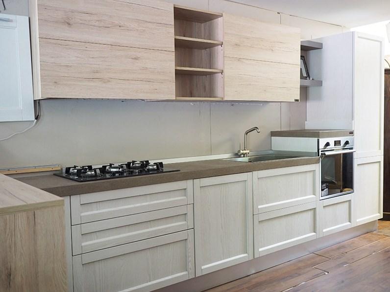 cucina legno white con penisola movibile prezzo outlet in